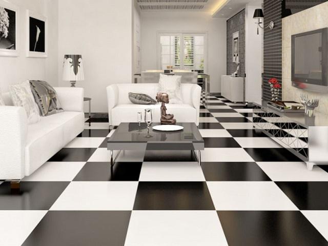 2 màu gạch đen trắng xen kẽ kết hợp khiến căn phòng vừa cá tính vừa pha chút cổ điển